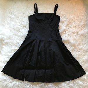 LAUREN RALPH LAUREN BLACK FIT AND FLARE DRESS